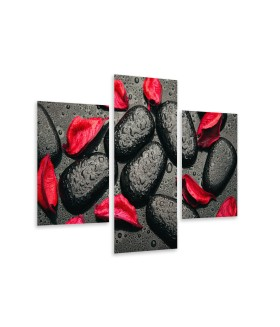 Multi-canvas 3x Black stones red petals